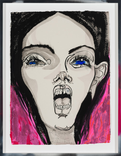 Del Kathryn Barton i care mutha fucka, 2019; gouache on paper, hand finished frame; 87 x 67.5 cm; enquire