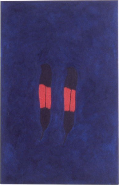 Fiona Foley Two Black Cockatoo Feathers, 1998; oil on canvas; 58.5 x 37.5 cm; enquire