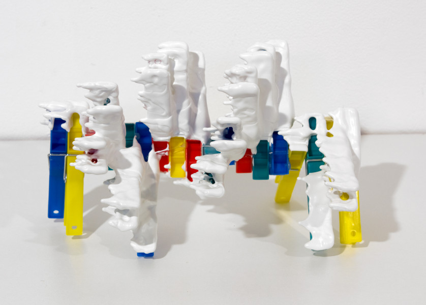 Teppei Kaneuji White Discharge (Clothes pins), 2011; found objects, resin, glue; 23 x 17 x 17 cm; enquire