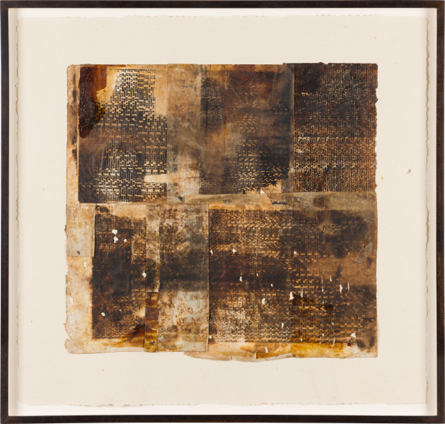 Kirtika Kain pitch I, 2019; silkscreened tar, shellac and turpentine on kozo and hand made Indian paper; 63 x 66 cm; enquire