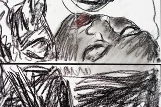 Pierre Mukeba (Reflection Of The Soul) (detail), 2021; charcoal on archival paper; 180 x 126 cm; enquire