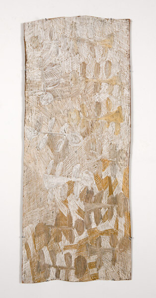 Nyapanyapa Yunupingu 15. Untitled, 2013; 4411A; natural earth pigments on bark; 131 x 52 cm; enquire