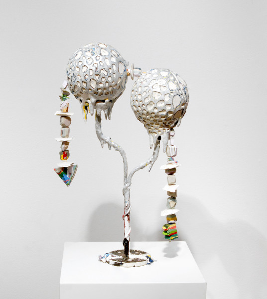 Rohan Wealleans Journey through the Centre of Two Worlds, 2006; from the series Exhibited in 'Stolen Ritual', 2006; paint, polystrene fibreglass and paint on candle stick holder; 50 x 28 x 13 cm; enquire