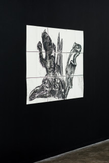 installation view; Pierre Mukeba (Slide), 2021; charcoal and pastel on archival paper; 90 x 126 cm; enquire