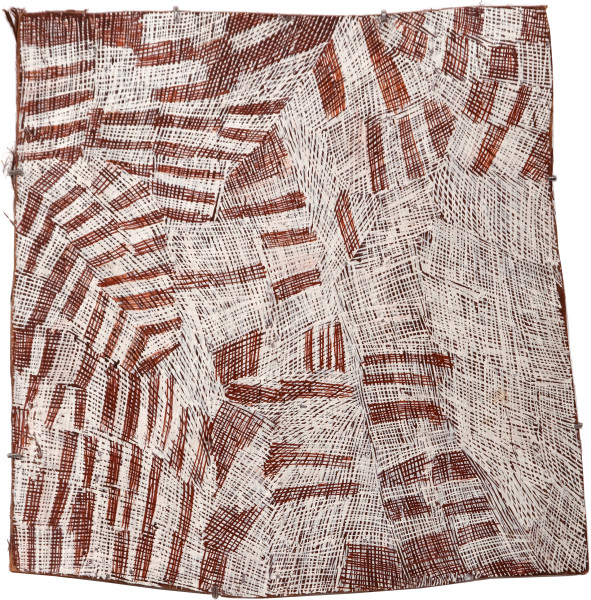 Nyapanyapa Yunupingu 23. Pink and White Painting #2, 2010; 3682Z; Natural earth pigments on bark; 69 x 68 cm; enquire