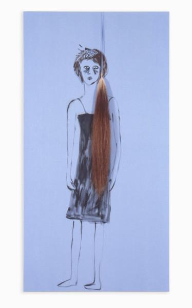 Jenny Watson Mindchatter, 1991; Oil on cotton & horse tail; 187 x 98 cm; enquire