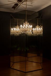 Yayoi Kusama Chandelier with Pain, 2002; mirror, chandelier, motor, strobe; 288 x 166 x 166 cm; Edition of 3; enquire