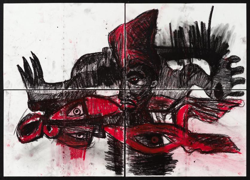 Pierre Mukeba (MUKEBA(self portrait), 2021; charcoal on archival paper; 60 x 84 cm; enquire