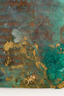 Kirtika Kain foglio II (detail), 2019; natural oxidation, pigment, charcoal, gold leaf on copper; 28 x 22 cm; enquire