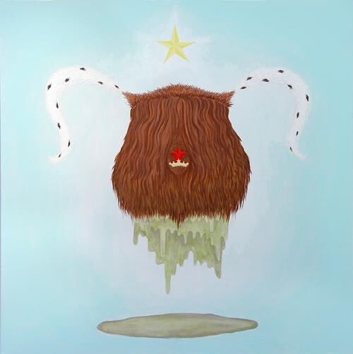 Michelle Hanlin Coat of Arms (Sheba Mini-Yak), 2005; acrylic on canvas; 100 x 100 cm; enquire