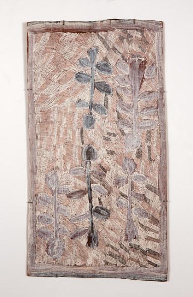 Nyapanyapa Yunupingu 17. Untitled, 2013; 4277C; natural earth pigments on bark; 107 x 59 cm; enquire