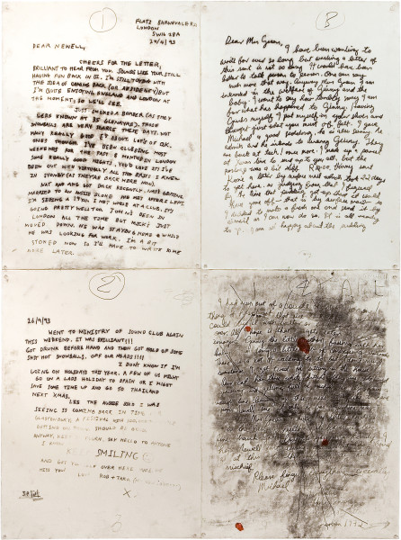 Newell Harry Untitled (two letters 1993 and 1973), 2007; monoprints, gesso, oilstick; 152 x 114 cm; enquire