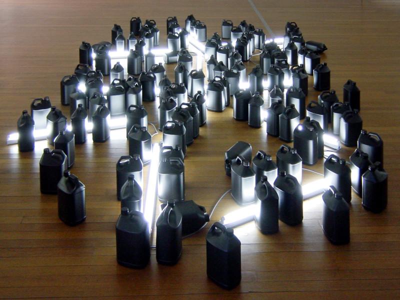 Bill Culbert Black, Day, Light, 2004; fluorescent lights, electrical cords, plastic bottles; 50 x 400 x 600 cm; enquire
