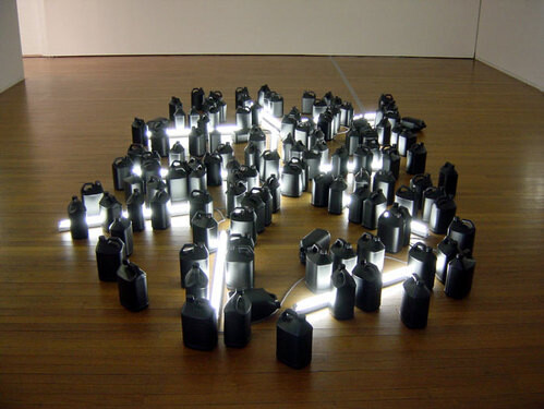 Bill Culbert Black, Day, Light, 2004; fluorescent lights, electrical cords, plastic bottles; 50 x 400 x 600 cm; enquire