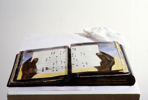 Fiona Hall & Nalini Malani The Water Book, 1997-98; gouache, acrylic, water colour on Daphne & milk carton paper with leather binding; 20.5 x 17.5 x 9 cm; (artist book); enquire