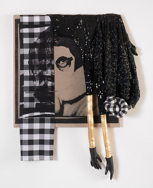 Sarah  Contos Soft Occultations and Hard Crushing, 2014; Screenprint on linen and cotton, polyfil, lamé, upholstery tacks, artists' sequined dress, cardigan and leather gloves; 138 x 110 cm; enquire