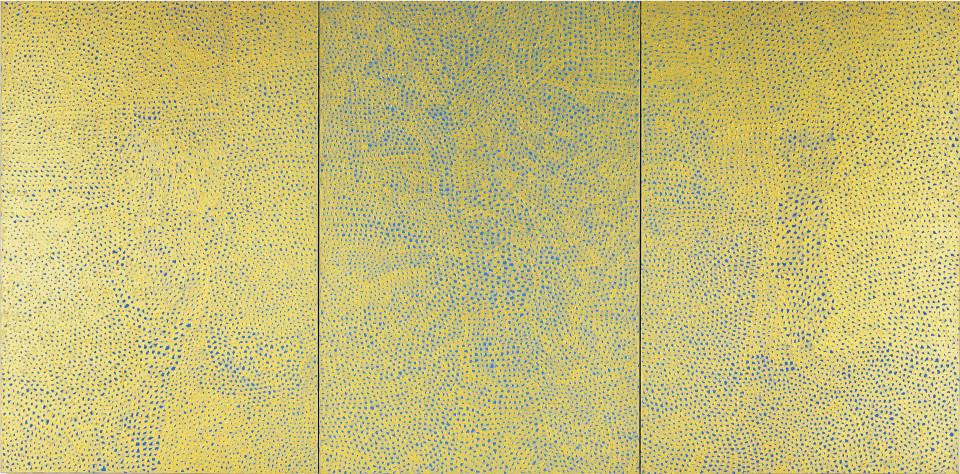 Yayoi Kusama Infinity Nets (G.E.R), 1999; acrylic on canvas ; triptych 194 x 390.9 cm; enquire