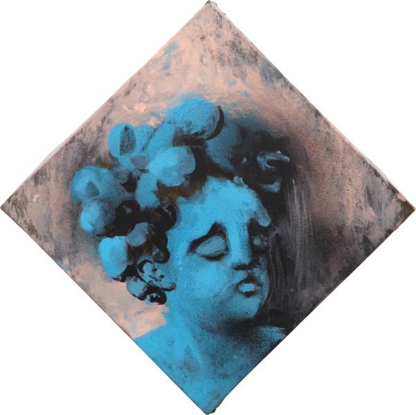 Tony Clark Putto Q, 2010; acrylic on canvas; 41.5 x 41.5 cm; enquire