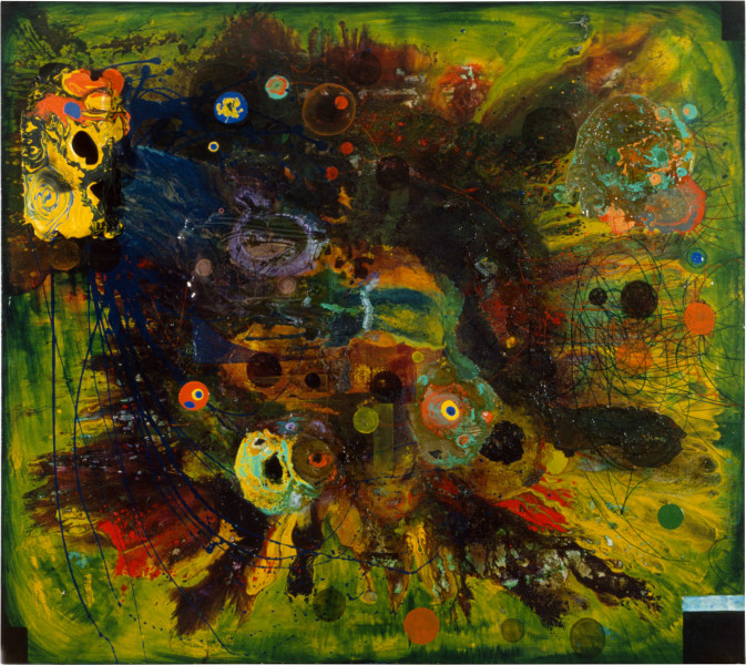 Dale Frank What is this Marvelous Thing Called Art and the Blue Butterfly, 1986; acrylic & mixed media on canvas; 200 x 180 cm; enquire