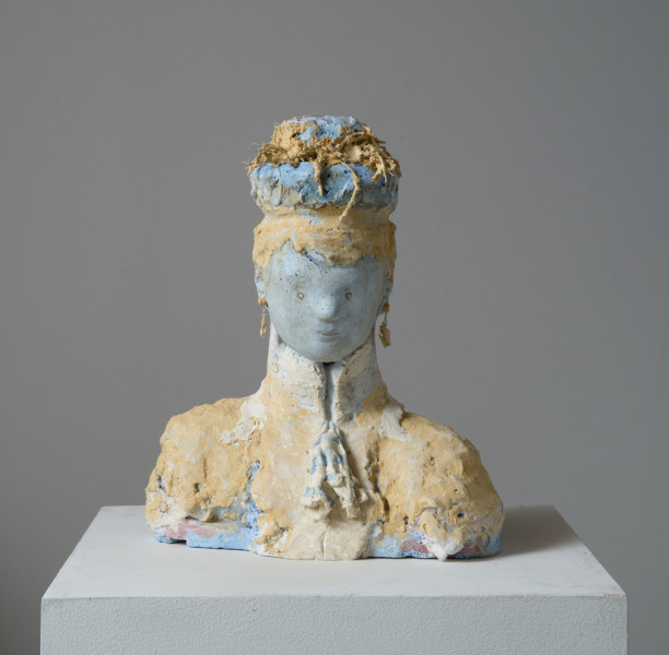 Linda Marrinon Victorian woman with earrings, 2014; tinted and painted plaster; 33 x 17 x 27 cm; enquire