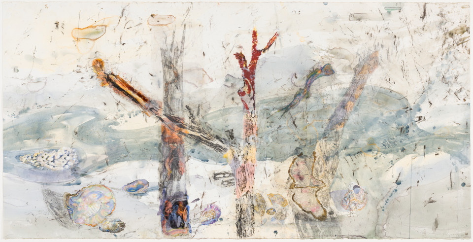 John Wolseley The hidden territories of the Mangrove worm mollusc – Arafura Sea, 2019; watercolour, carbonized wood, graphite and relief prints chine-colle on paper; 114 x 225 cm; enquire