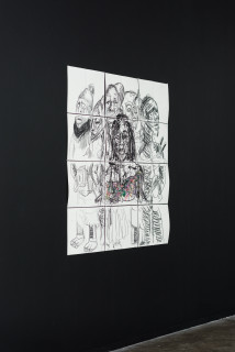 installation view; Pierre Mukeba Christine Kitenge, 2021; charcoal and pastel on archival paper; 120 x 126 cm; enquire