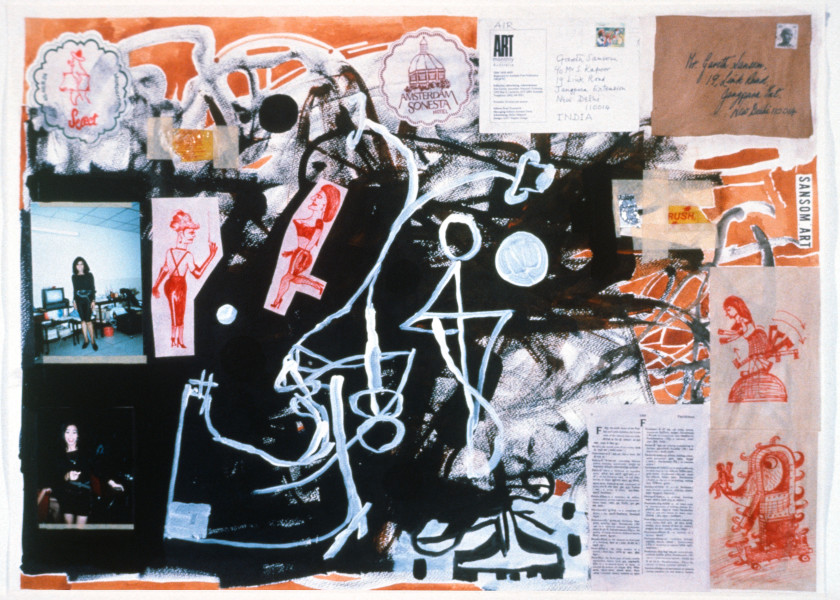 Gareth Sansom Factitious, 1989; watercolour, acrylic, ink and collage on paper; 56 x 76 cm; enquire