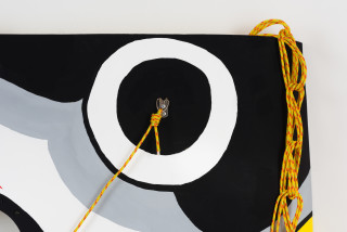 Claire Healy and Sean Cordeiro Fugu (detail), 2020; Kiowa helicopter cabin shell assembly, acrylic gouache, polyester line; 90 x 120 x 8 cm; enquire