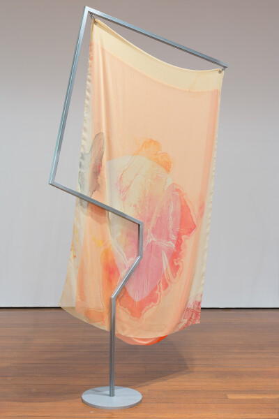 Mikala Dwyer Flags, 2018; painted steel, fabric, carabiner; 226 x 130 x 36 cm; (I); enquire
