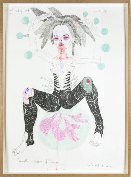 Del Kathryn Barton beneath a pattern of houses  , 2015; ink and acrylic on hot pressed paper; 82 x 60.5 cm; enquire