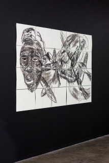 installation view; Pierre Mukeba Insomnia, 2021; charcoal on archival paper; 120 x 210 cm; enquire
