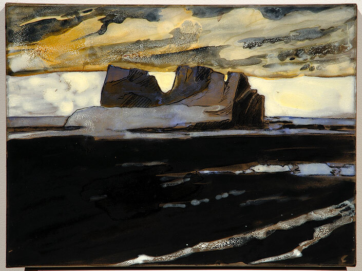 Mandy Martin Epic Fatality: Iceberg, 2007; Ochre, pigment and acrylic on arches paper; 30 x 40 cm; enquire