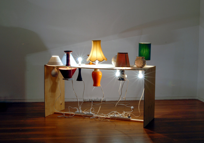 Christopher Hanrahan As Is The Gardener Such Is The Garden (table lamp), 2006; plywood and lamps; 118 x 157 x 60 cm; enquire