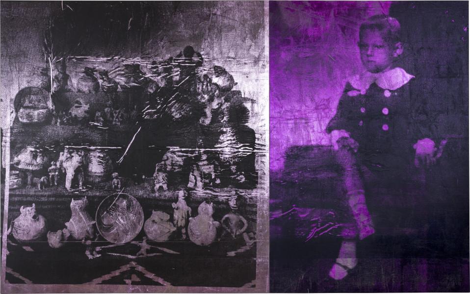 Brook Andrew Boy (magenta) & pink ceramics, 2018; ink, acrylic paint, linen; 180 x 288 x 5 cm; two canvases - 180 x 124 x 5cm; 180 x 164 x 5cm; enquire