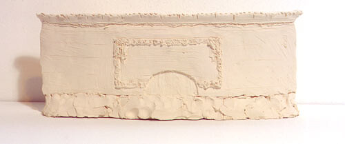 Linda Marrinon Proposal for the Refurbishment of the Facade of the National Gallery of Victoria after Louis Sullivan's National Farmers Bank, Owatonna, Minnesota, 1999; from the series Sculpture For The Home; White terracotta; 12 x 30 x 5 cm; enquire