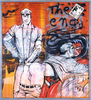 Juan Davila and Harry Georgeson Stupid As A Painter (detail), 1981; acrylic and collage on photographic mural; 213 x 772 cm; enquire