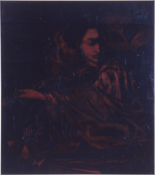 Lindy Lee Night and Music, 1990; oils and wax on canvas; 135 x 120 cm; enquire