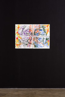 installation view; Pierre Mukeba (Emotions of colour), 2020; charcoal and pastel on archival paper; 60 x 84 cm; enquire