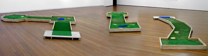Newell Harry Tiger, 2005; plywood, astro-turf, PVC pipe, three pieces; overall dimensions variable; enquire