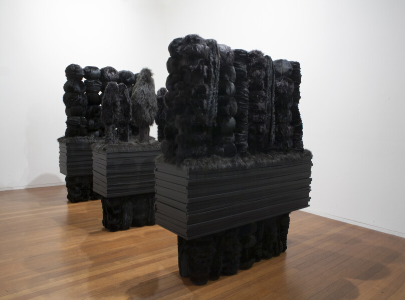 Kathy Temin Black Gardens, 2013; wood, steel, synthetic fur and filling; 227 x 158 x 370 cm; (installation dimensions); enquire