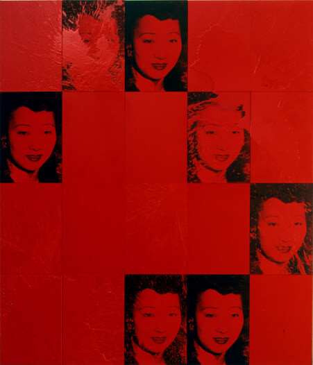 Lindy Lee Lily-amah, 2001; photocopy, acrylic, oil, wax, and ink on board; 166 x 147 cm; enquire
