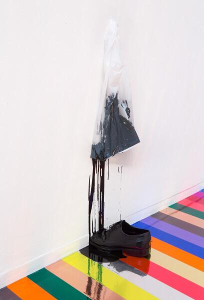 Jim Lambie Zero Concerto, 2015; leather shoe, black paint, plastic bag; 88 x 35 x 24 cm; enquire