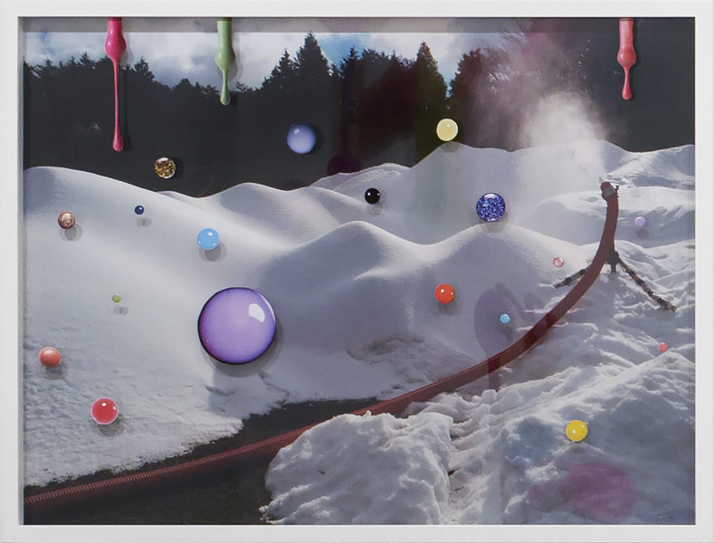 Teppei Kaneuji Sea and Pus (Photograph of Artificial Snow), 2016; Chromogenic Print, collage of printed material on acrylic; 63 x 83 x 4 cm; enquire