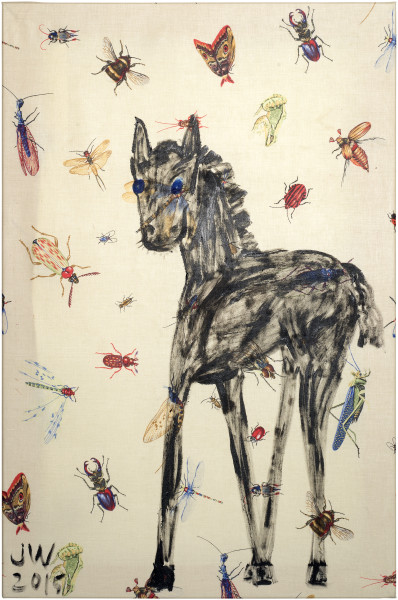 Jenny Watson Black Horse, 2015; acrylic on insect pattern cotton; 90.5 x 60.5 cm; enquire
