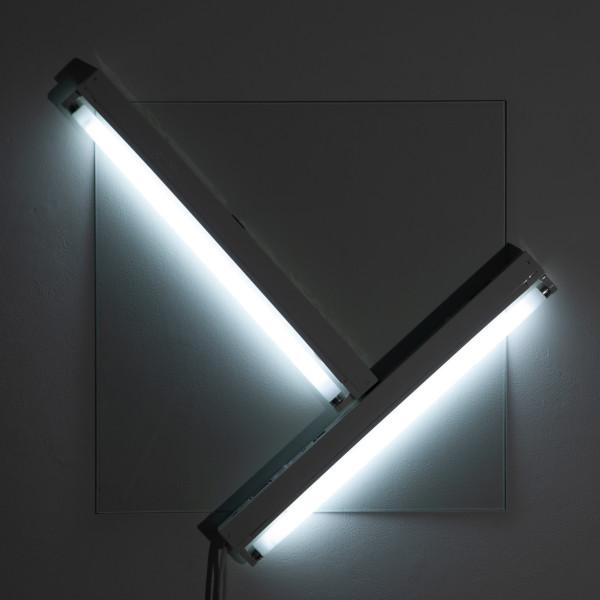 Bill Culbert Light in square pane, 2009; glass, fluorescent lights; 75 x 75 x 10 cm; enquire