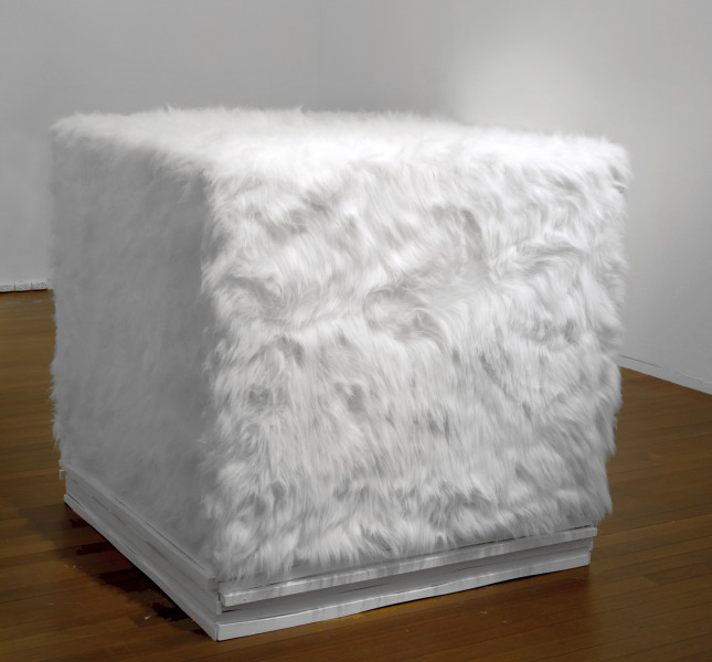 Kathy Temin White Cube: Fur Garden, 2007; synthetic fur, wood, paint, perspex; 123 x 123 x 123 cm; enquire