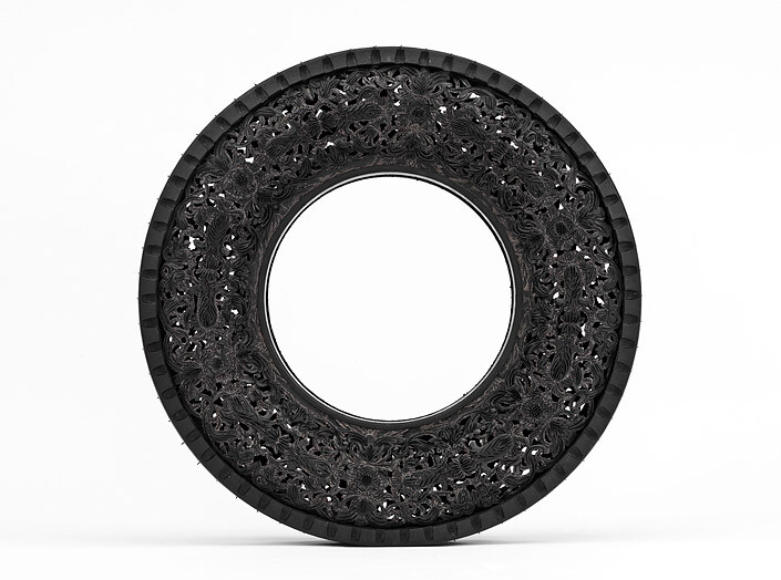 Wim Delvoye Untitled (Car Tyre) 2, 0; handcarved car tyre; 81.5 x 81.5 x 17 cm; enquire