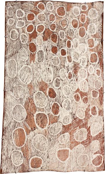 Nyapanyapa Yunupingu Pink and White Circles, 2011; 3925M; natural earth pigments on bark; 107 x 63 cm; enquire