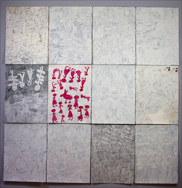 Nyapanyapa Yunupingu Djorra (paper), 2014; felt tip pens, white clay, acrylic paint on discarded print; 228 x 224 cm; 76 x 56cm (each); enquire