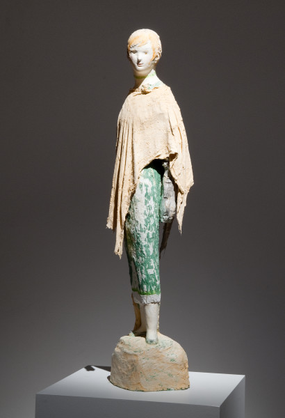 Linda Marrinon Woman with Poncho, 2011; painted and tinted plaster and muslin; 82 x 21 x 23 cm; enquire